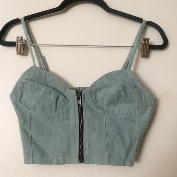 e480f03d6ba Denim zip bralet   crop top   corset   bustier